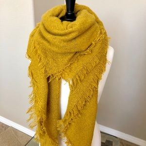 Mustard Yellow Fringe Blanket Scarf Shawl Wrap